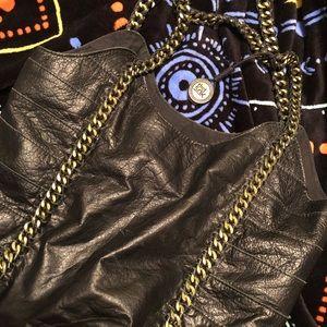 SAK black leather bucket bag